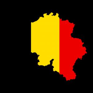 De contouren van België, ingekleurd met zwart, geel en rood.