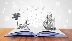opengeslagen boek waaruit een onbewoond eiland en piratenschip groeien