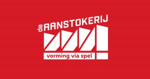 Logo De Aanstokerij met naam in witte letters op rode achtergrond