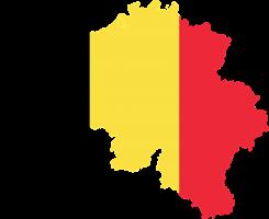 België (plattegrond) gekleurd als de vlag