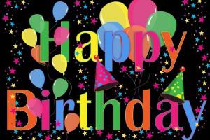 happy birthday met ballonnen en confetti