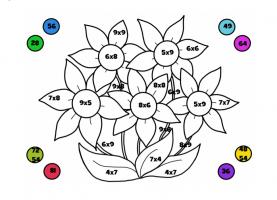 Kleuroefeningen maaltafels uit het werkboek: kleur correct volgens de oplossing