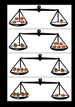 Voorbeeld uit het werkblad met enkele weegschalen en aan elke kant een verschillend aantal noten