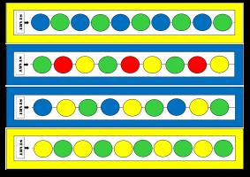 Voorbeeld van enkele patronen uit de opdracht parels rijgen