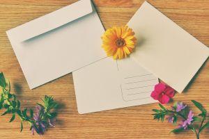 brief met gele bloem