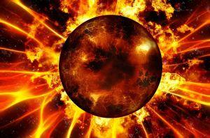 planeet die in brand staat