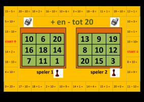 Voorbeeld met opdrachten + en - tot 20 uit het aanpasbaar spelbord