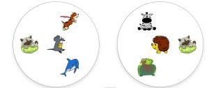 twee kaartjes van Dobble met dieren