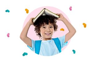boy with book above the head