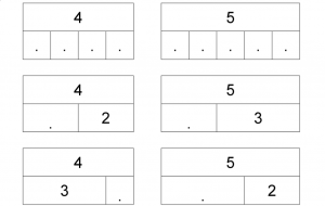 Deel uit het oefenblad splitsen van getallen