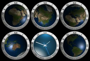 wereldbollen met klokjes rond