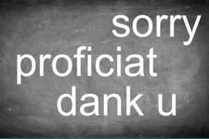 bord met sorry, dank u, ...