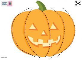 Image halloween pumpkin with cutting lines