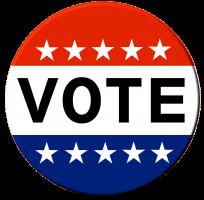 button in de kleuren van de Amerikaanse vlag met VOTE op