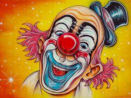 Tekening van een lachende clown
