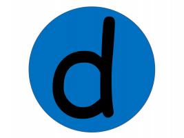 De letter d in een cirkel en blauwe achtergrond