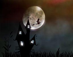 Tekening van een heks die op haar bezem door de lucht vliegt