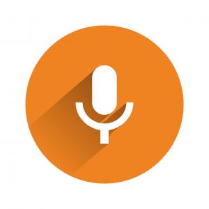 Pictogram van een microfoon - podcast