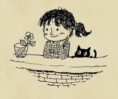 meisje met bloem en kat kijkt over de muur