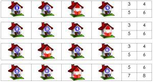 Deel van de opdracht met huizen en verborgen huisnummers