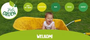 Screenshot startpagina Het Groen met een kleuter in een kruiwagen