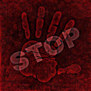 hand met stop