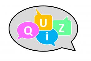 tekstballon met quiz in