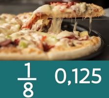 pizza met daaronder de breuk een achtste