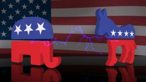 symbolen van de democraten en republikeinen naast elkaar bij de Amerikaanse vlag