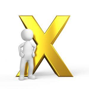letter x met een mannetje ervoor