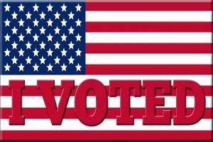 Amerikaanse vlag met I voted