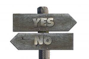 pijlen met yes en no