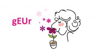 vrouw die aan een bloem ruikt, het woord geur