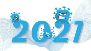 2021 en een afbeelding van het coronavirus