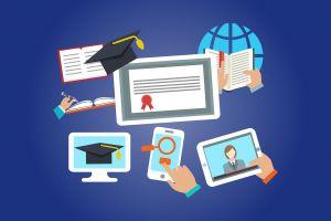 Illustratie van online lesmateriaal: scherm, tablet...
