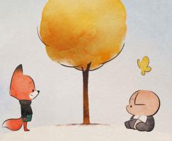 Tekening van een vos, varken en boom