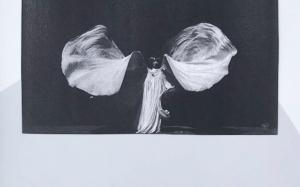 Zwart wit foto van meisje dat danst met doeken