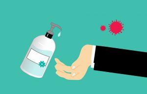 hand die ontsmet wordt
