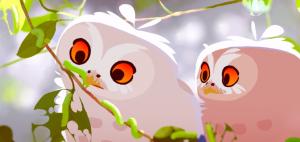 Tekening van twee uilen