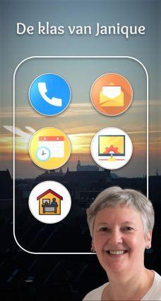 Smartphone achtergrond met icoontjes en foto van een vrouw