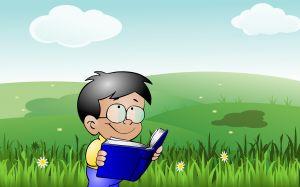 Tekening van jongen die in een boek leest