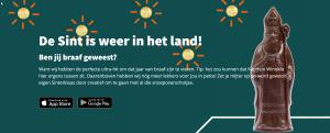 Screenshot van de website met een figuur in chocolade
