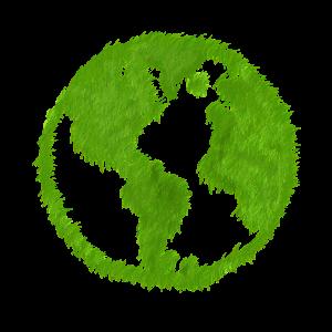 wereldbol gemaakt van gras