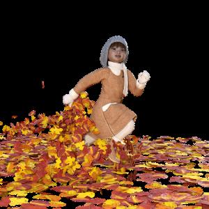 Lopend kind tussen de herfstbladeren