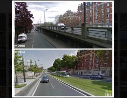 twee foto's van een straat