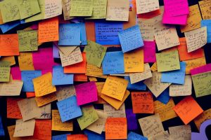 notice board with post-its
