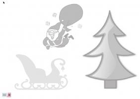 Voorbeeld van de starttekening met een kerstboom, kerstman en slee