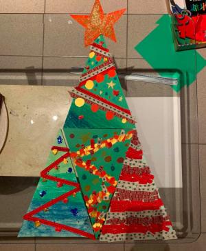 kerstboom met collagetechniek