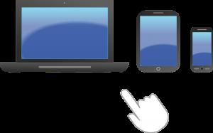 Drie mobiele toestellen, een laptop, een tablet en een smartphone.