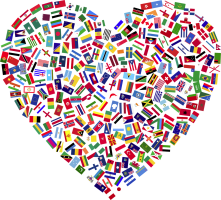 hartvorm met vlaggen